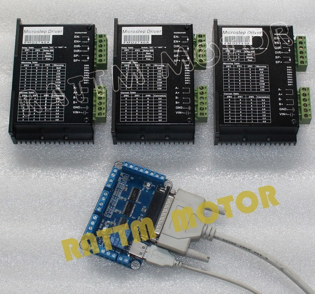 3 Axis CNC stepper controller kit  motor driver 12-50V/ 4A /128micsteps CNC Router & 5Axis breakout board