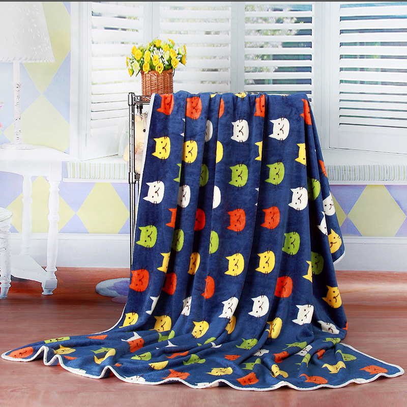 Super Soft Cartoon Cat pattern Coral fleece blankets On Sofa Bed throws Twin 140/200cm For Children Baby Home textiles