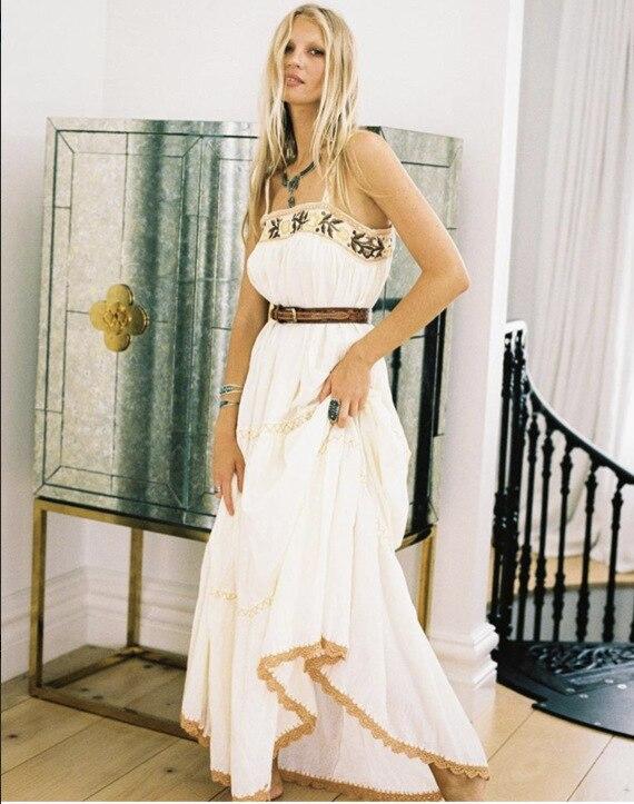 Dos Nu Florale De Femmes Broderie 2018 Vêtements Blanc Élégante Coton Crochet En Bretelles Boho Longue Maxi Robe DH92IYWE