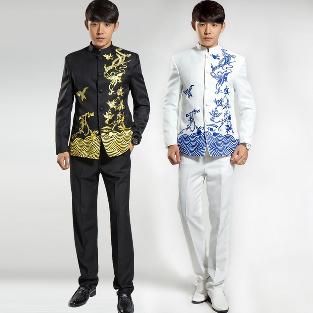 f4dd781d9fd ( Jacket + Pants ) 2016 Fashion Brand Men Suits Chinese tunic suit  Embroidery Blazers Slim