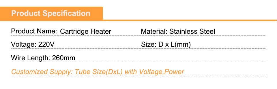2 шт. 9,5 мм диаметр трубки электрические нагревательные резисторы картридж нагревательный элемент 220 В нержавеющая сталь одна голова