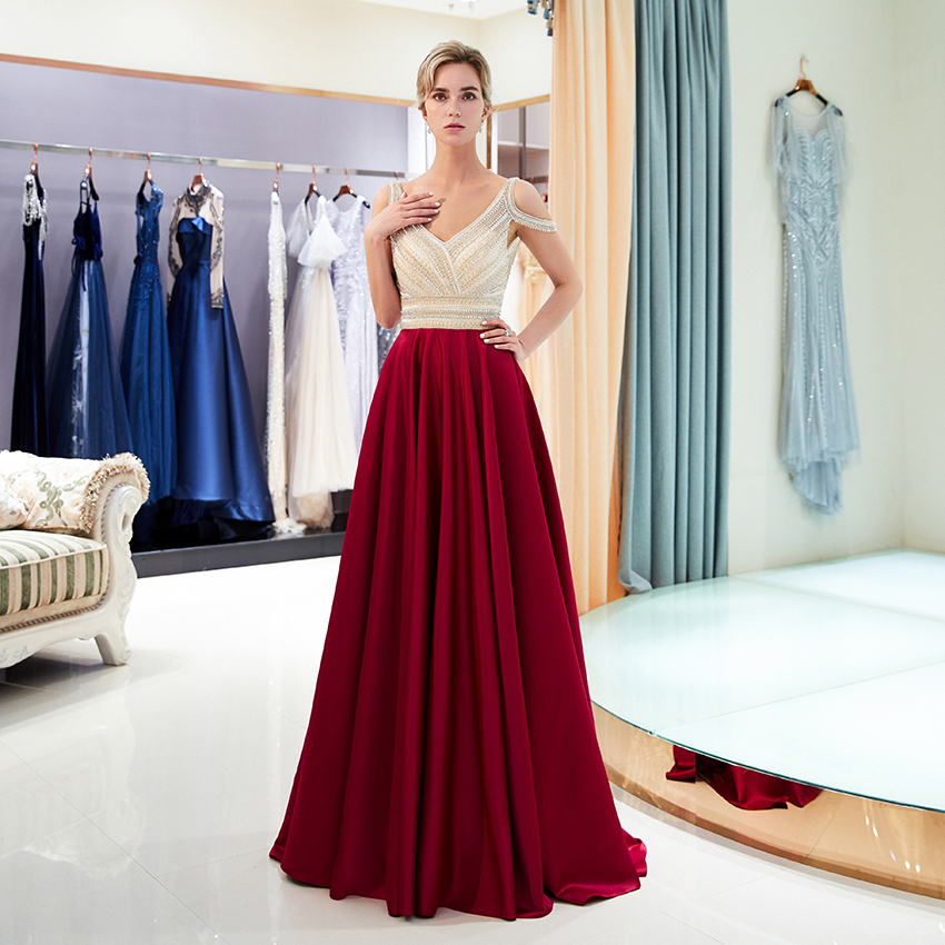 Luxury 2019 Beaded Crystal   Prom     Dress   V Neckline Low Back A Line Long Women Party   Dresses   Wine Red