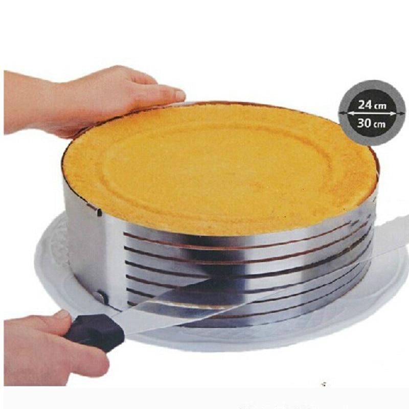 Řezací kovový kroužek Nastavitelná nerezová pěna Cake Layer Cut Cut Cake Slicer Device Forma Bakeware Vaření Cake Tools