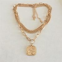 Ожерелье на каждый день с покрытием золотого цвета квадратный кулон 3 многослойное ожерелье для женщин Девушка