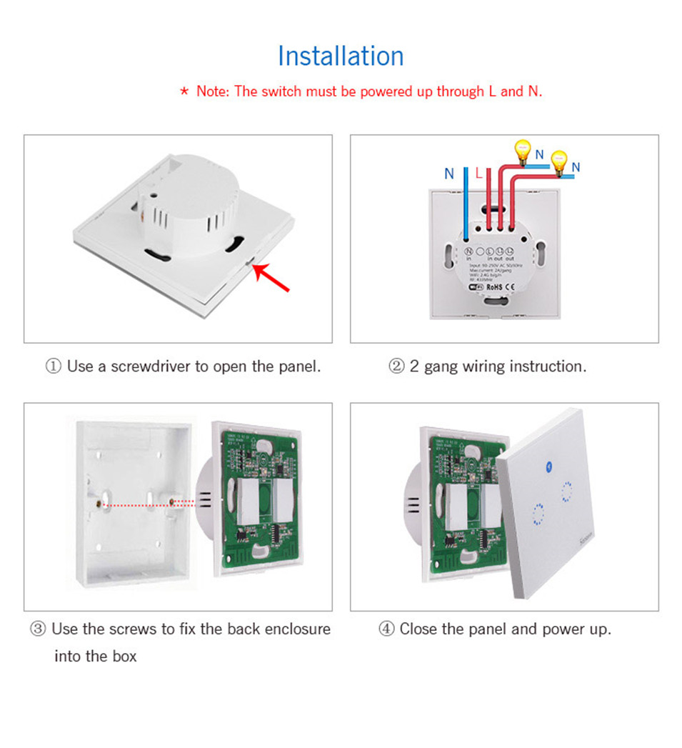 Sonoff T1 Wifi Smart Wall Touch Light Switch Eu Standard 2 Gang Wiring A 1 Touchwifi433 Rfapp Remote