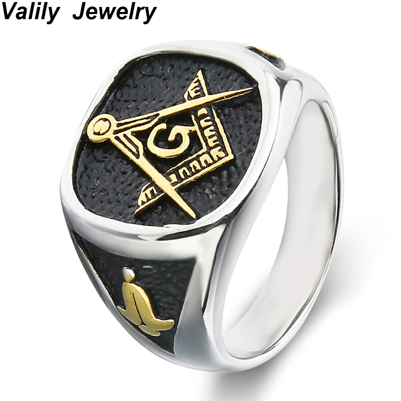 Mens 18K Gold College Style Look Freemason Ring, Stainless Steel  Masonic Rings with symbol,Fashion jewelry ,Gift