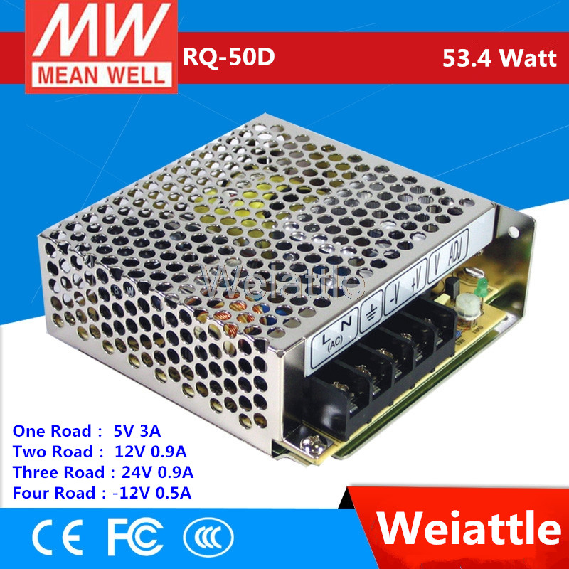 MEAN WELL  5V 6A  +12V 1.5A  +24V 1A  -12V 1A  RQ-50D  53.4W  drive  Quad Output Switching Power Supply  4 road  AC-DCMEAN WELL  5V 6A  +12V 1.5A  +24V 1A  -12V 1A  RQ-50D  53.4W  drive  Quad Output Switching Power Supply  4 road  AC-DC