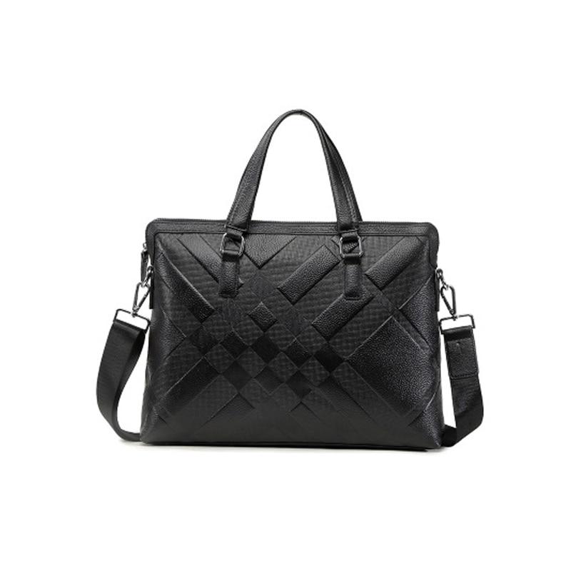Business Men Briefcase Bag Leather Laptop Bag Genuine Leather Crossbody Handbags Work Shoulder Messenger Tote Casual
