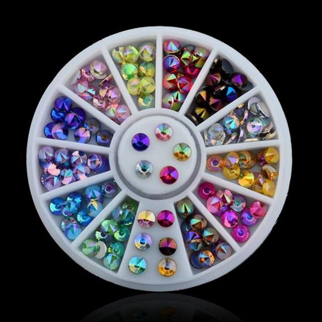 Hot! 1 roda = 120 pcs Nail Art Pedrinhas Plano Voltar 3D AB Cor Cristal Strass Unhas DIY Dicas Da Arte do Prego decoração Manicure