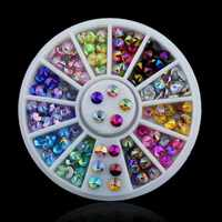 Hot! 1 Wheel=120pcs Nail Art Rhinestones Flat Back 3D AB Color Crystal Nail Rhinestones  DIY Nail Art Tips Decoration Manicure
