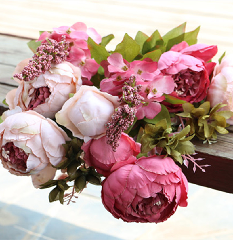 8 Heads Bunch Vintage Noble Large Peony Bouquet Home