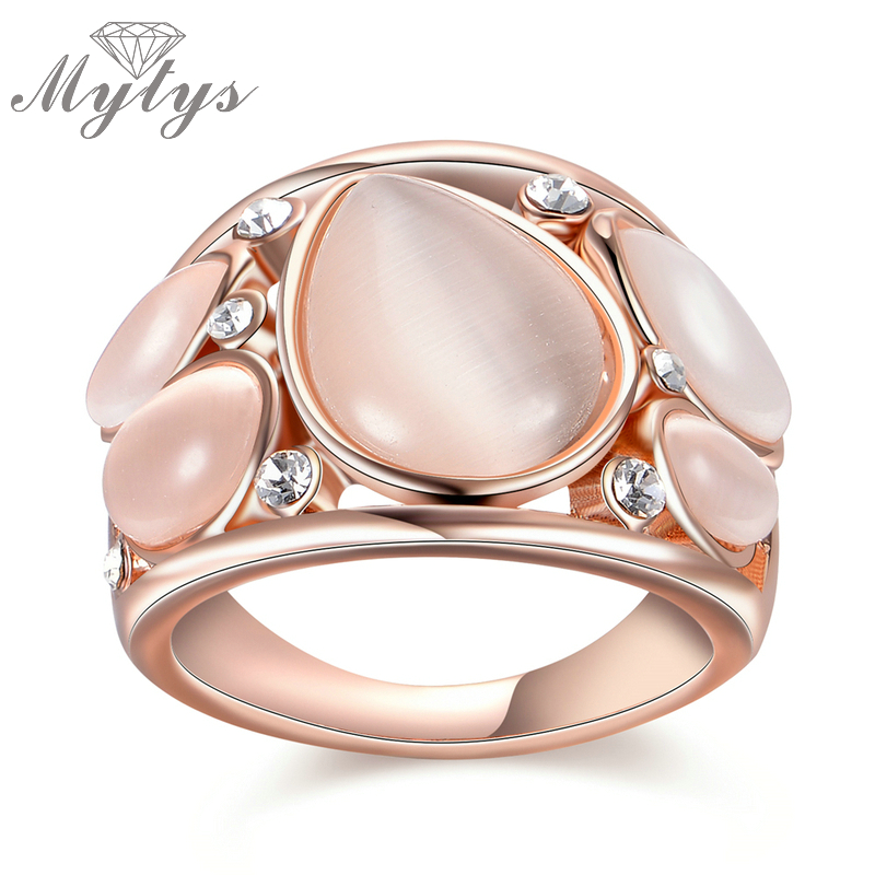 Mytys Brand Rose Gold Ring New Fashion Design Opal Rings 2017 Party Rings for Women R1814