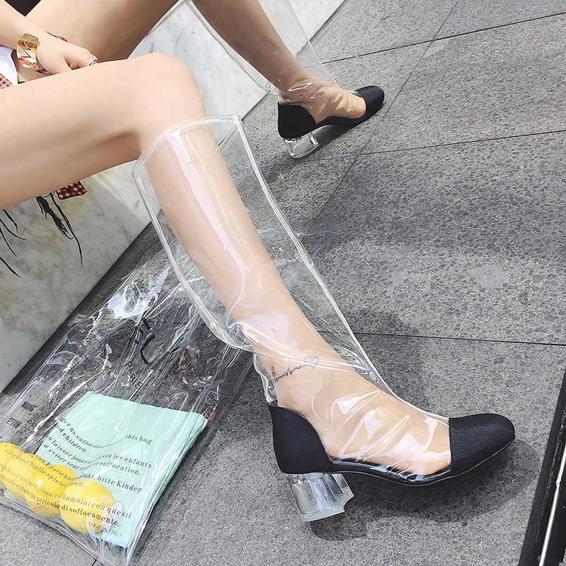 Prova Perfetto Moda Kristal Topuk Şeffaf Çizmeler Kadın Diz Çizmeler Düşük Topuklu Uyluk Yüksek Çizmeler Kadın Büyük Boy ayakkabı