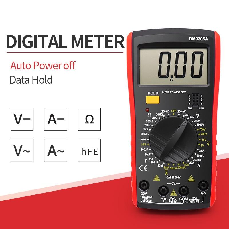 9205a Multimeter AC DC Digital Multimeter Professional Tester Meter Capacitance Voltmeter Digital LCD Display 1999 Counts Meter