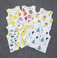 New 2017 Baby Boys Girls Clothes Cotton Unisex Zoo/Cactus/Fruits Sleeveless Summer Baby Kids Boys Girls Infant T-shirt Retail