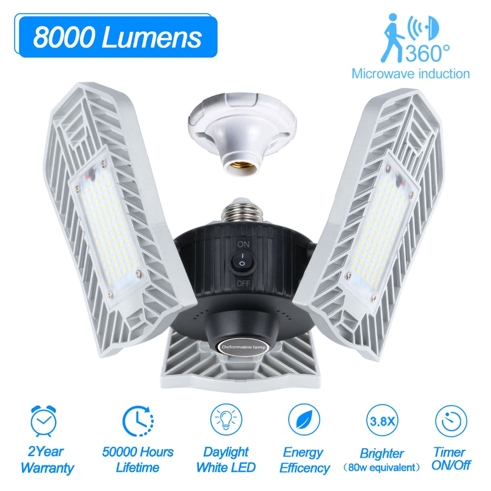 E27 Led Deformable Ceiling Light Garage Lamp High Lumen