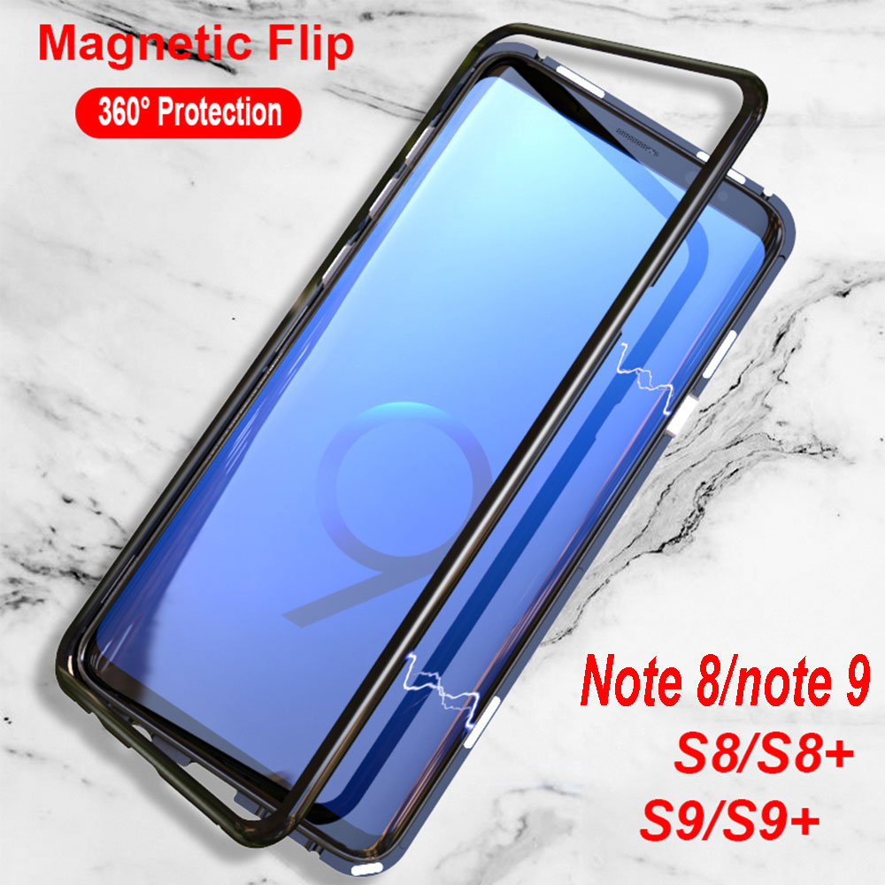 new products 05afe 6f057 US $9.99 30% OFF|Luphie Magnetic Case for Samsung Galaxy S8 Plus S9 Note 9  8 Tempered Glass Back Cover Metal Bumper Adsorption Magnet Case S 9 -in ...