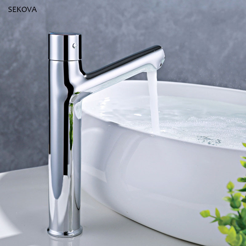 Tall Style Washbasin Faucet Chrome Plated Brass Hot And Cold Mixer Rotation Handle Deck Mounted Bathroom Sink Water Tap deck mounted bathroom tall sink faucet cold