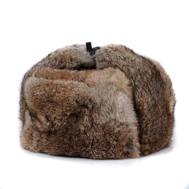 Gorro de pelo de conejo para hombre, gorro de piel auténtica de 100% para invierno, orejeras cálidas a prueba de viento, gorro ruso plano, gris/negro