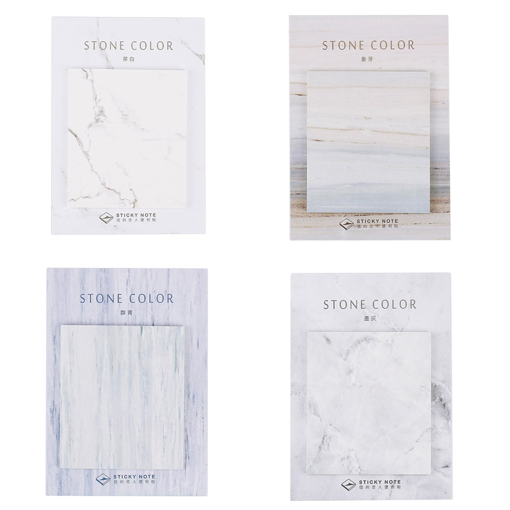 1 Pcs 30sheets 65mm*75mm Marble Stone Color Stickers Bookmark Post It Memo Pad Sticky Notes School Office Stationery