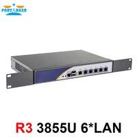 1U кабинет межсетевого экрана сервера сетевой маршрутизатор с 6*82583 В Gigabyte LAN Intel Celeron 3855U 2 г Оперативная память 32 г SSD