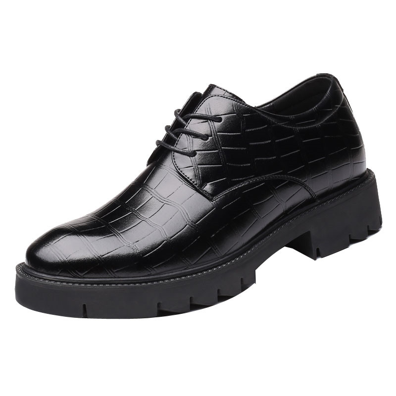 Fashion New Thick Bottom Men's Business Derby Shoes Get Taller 8 CM High Height Increasing Elevator Casual Split Leather Shoes 2 36 inches taller height increasing elevator shoes black blue red casual leather shoes soft sole soft surface driving shoes