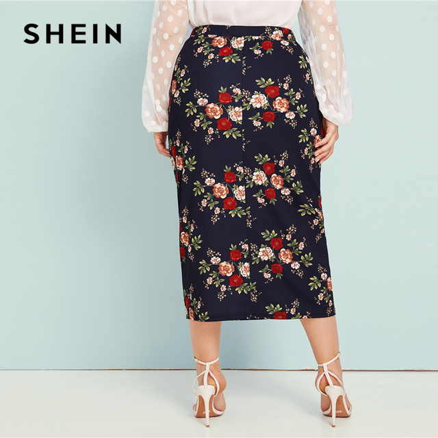 SHEIN Plus Size Abaya Navy Floral Print Pencil Skirts Womens Summer Autumn Big Size Elegant Plus Bodycon Long Skirt 3