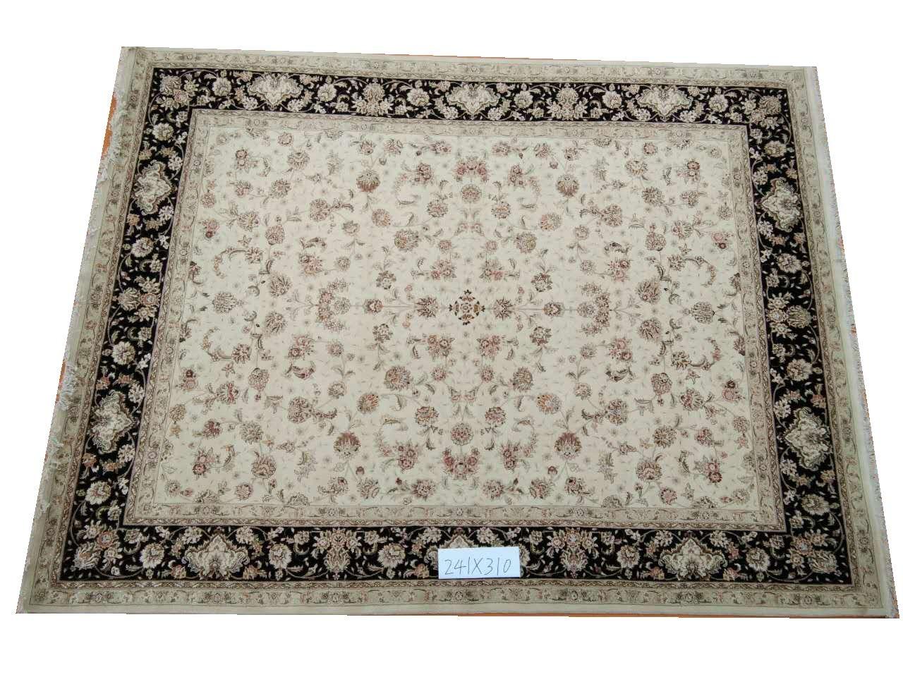 Tapis orientaux persan laine nouée à la main et soie tapis oriental persan fait à la main 7 8X10gc157peryg9 tapis de soie persan