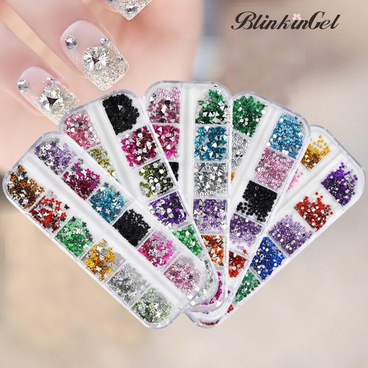 цена на BlinkinGel 12 Colors 3D Nail Art Decorations Rhinestones Glitter of Christmas Nail Rhinestones for Nails Accessoires Mixed Size