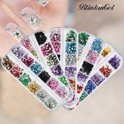 BlinkinGel 12 couleurs 3D Nail Art décorations strass paillettes de noël ongles strass pour ongles Accessoires taille mixte