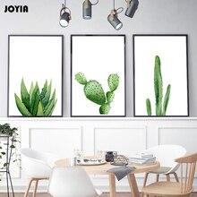 JOYIA Decor Kunst Kaktus Leinwand Botanische Poster Aquarell Wandkunst Zimmer Gemlde Fr Wohnzimmer Kein Rahmen