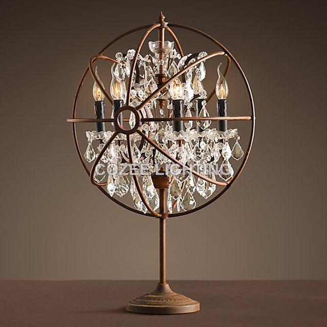 Gentil Vintage Crystal Table Lamp Classic Orb Desk Light LED Cristal Table  Lighting For Home Hotel Restaurant