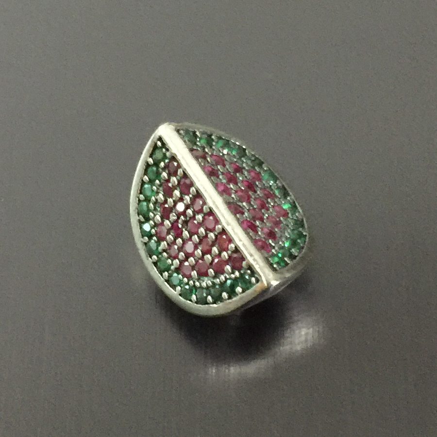 authentic 925 sterling silver slice of Watermelon inlaid crystal charms&beads fit Pd bracelet for women gift