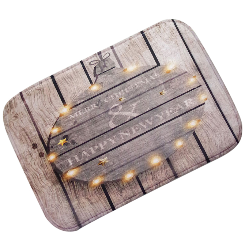 Christmas HD Printed Non-Slip Bath Mat Absorbent Home Decor doormatChristmas ball lights