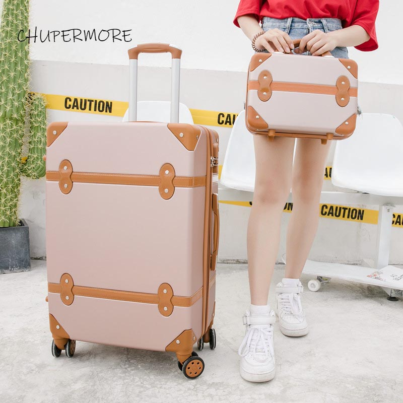 Chupermore Fashion Rolling Luggage Sets Spinner Retro Suitcase Wheels 20 Inch Women Carry On Travel Bags Password Trolley