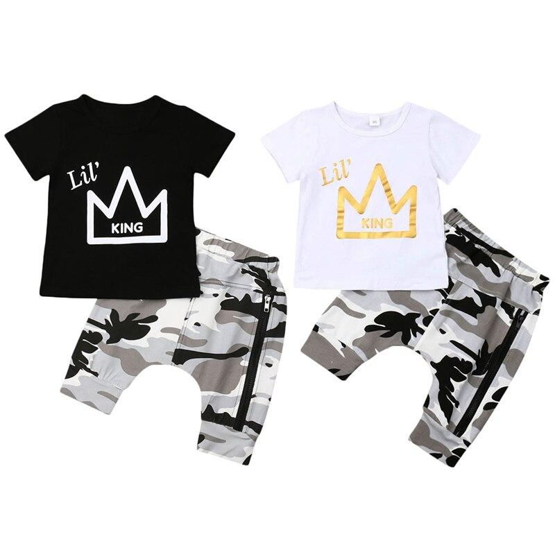 Fashion Newborn Toddler Kids Baby Boy Clothing Set Short Sleeve Crown Print KING T-shirt Tops+Camouflage Harem Pant 2PCS Outfits