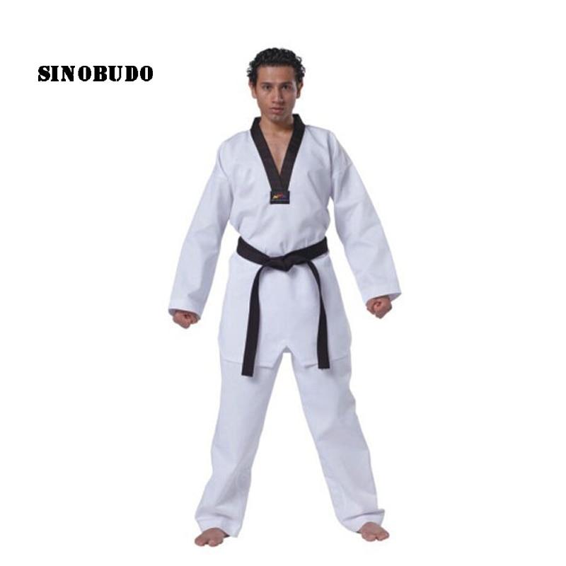Haute qualité 100% coton Standard WTF Taekwondo uniforme costume adulte enfant Taekwondo formation Dobok rouge noir v-cou uniformes