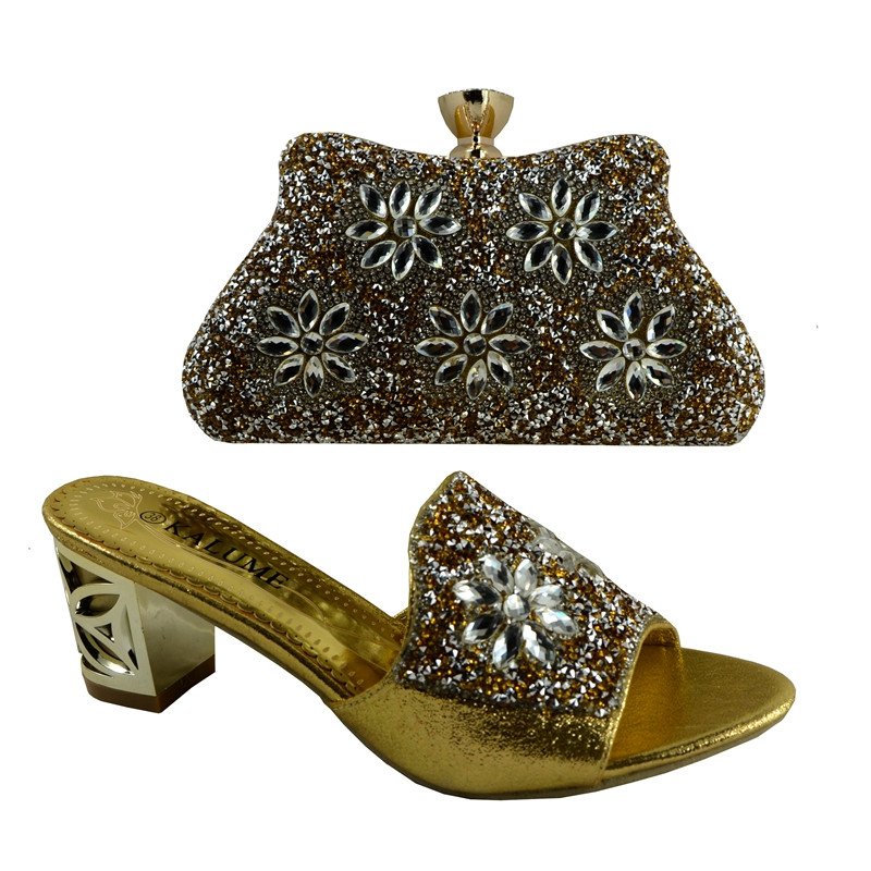 (No.1383)2016 new fashion Italian shoes with matching bags set for wedding and party African shoes and bag sets in gold color