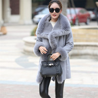 New Hot Sale Fashion Winter Women Faux Fur Coat Leather Big Turn Down Fox Collar Long