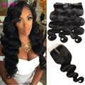 Peruvian Virgin Hair With Closure 3 Bundles Human Hair Weave With Closure 8A Unprocessed Peruvian Body Wave With Lace Closure