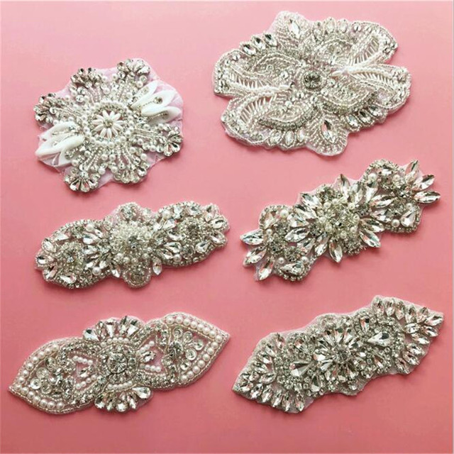 1Pc Bling Bling Handmade Iron On Beaded Crystal Clear Rhinestone Applique  for Wedding Ornaments Baby Girl Hair Accessories RT012 8843877b0c82