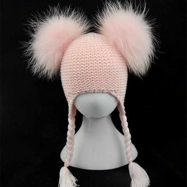 Kids Real Fur Pom Pom Hat Baby Winter Crochet Earflap Hat