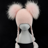 Niños Piel auténtica POM del bebé del sombrero del invierno del ganchillo con orejeras sombrero Niñas Niños punto Beanie doble dos Piel auténtica pompom sombrero para niños