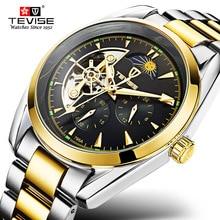 Original TEVISE Brand Watch Men Automatic Mechanical Waterproof Luxury Clock Steel Mens Wristwatch Relogio Masculino