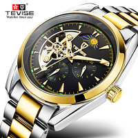 Original TEVISE Brand Watch Men Automatic Mechanical Watch Waterproof Luxury Watch Clock Steel Mens Wristwatch Relogio