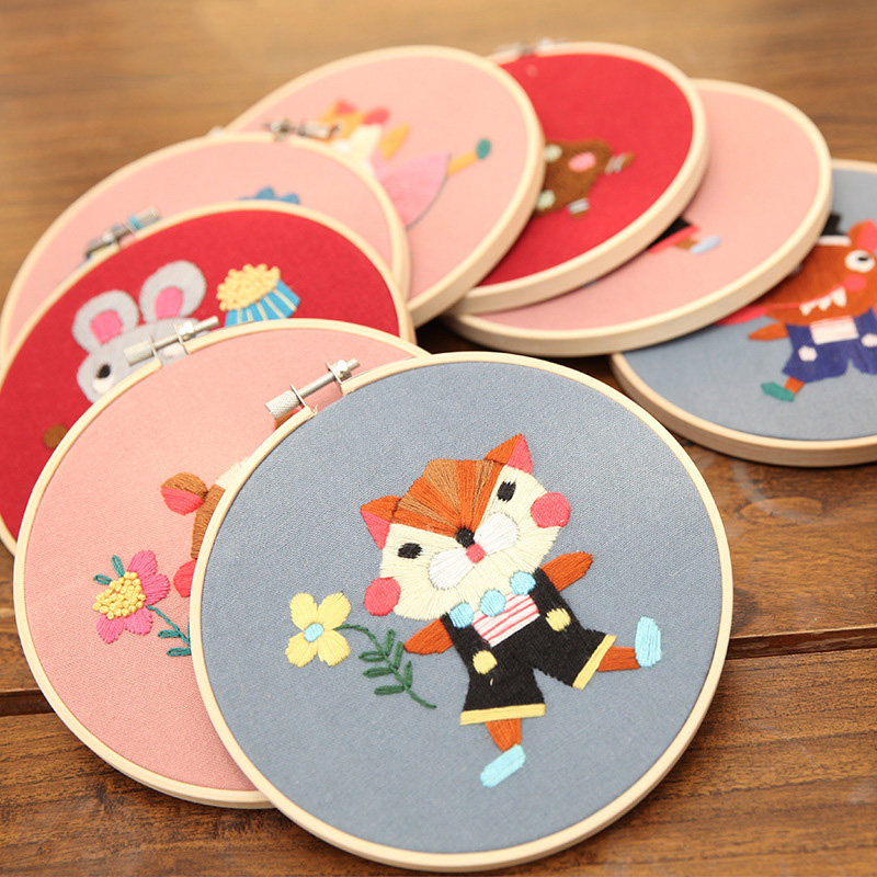 DIY Ribbons Embroidery for Beginner Needlework Kits Cross Stitch Cartoon Lovely Animals Wall Art Home Decor Children Toys