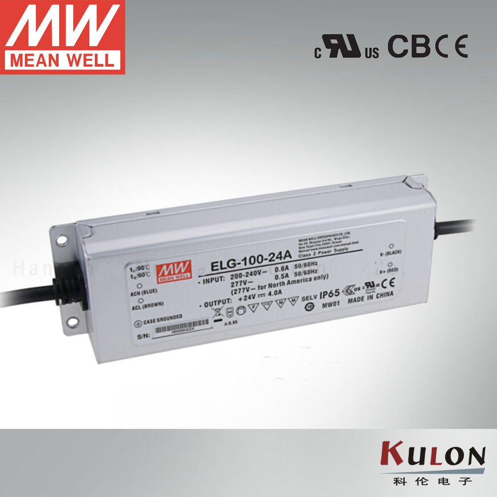 Genuine Meanwell Power Supply ELG-100-24A 96W 4A 24V Adjustable Led driver  for outdoor led light 90w led driver dc40v 2 7a high power led driver for flood light street light ip65 constant current drive power supply