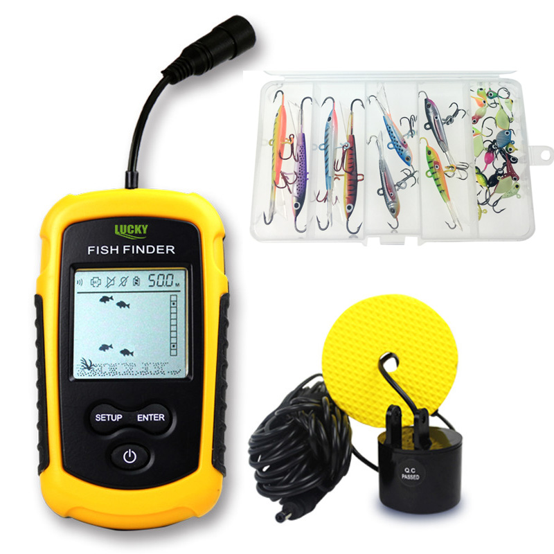 Portable Sonar Alarm Echo Sounder 0.7-100M Wired Transducer Sensor Fish Finder With Ice Fishing Lure Hooks and Fishing Reel Bag