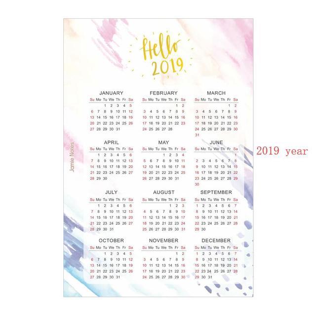 Calendario Dibujo 2019.1 03 2019 Kawaii Dibujos Animados Feliz 2019 Ano Calendario Indice Papel Divisor Para 6 Agujeros Diario Binder Semanal Planificador Binder