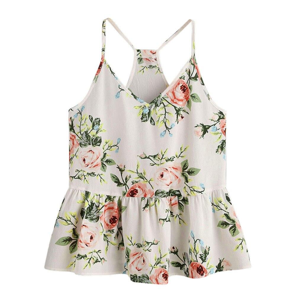 Zelfbewust Vrouwen Hemdje Chiffon Top Vrouwen Bloemen Casual Mouwloze Crop Top Vest Tank Shirt Blouse Cami Top S Cropped Feminino #